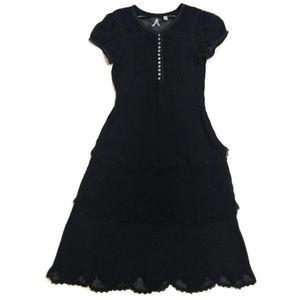 Anthropologie Mauve Black Sheer Victorian Dress